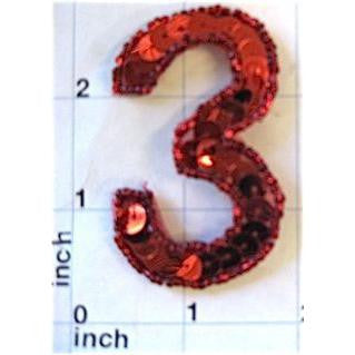 Number 3  Red Sequins 2.5""