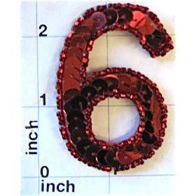Number 6  Red Sequins</p>2.5""