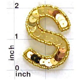 Letter S with Gold Sequins and Beads 2""