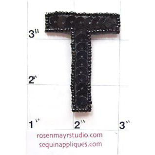 Letter T with Black Sequins and Beads 2""