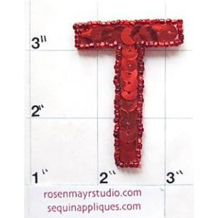 Letter T with Red Sequins and Beads 2