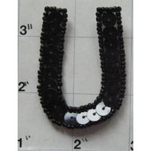 Load image into Gallery viewer, Letter U with Black Sequins and Beads 2""