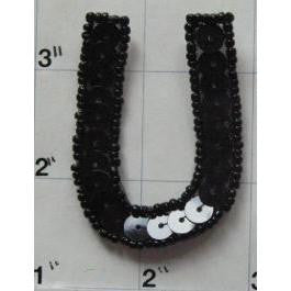 Letter U with Black Sequins and Beads 2""