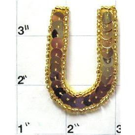 Letter U with Gold Sequins and Beads 2""