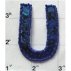 Letter U with Royal Blue Sequins and Beads 2""
