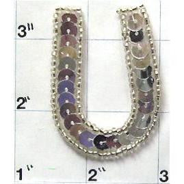 Letter U with Silver Sequins and Beads 2""