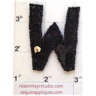 Letter W with Black Sequins and Beads 2""