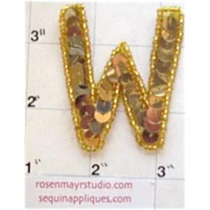 Letter W with Gold Sequins and Beads 2""
