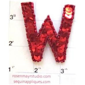 Letter W with Red Sequins and Beads 2""