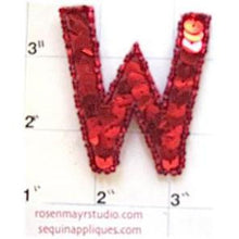 Load image into Gallery viewer, Letter W with Red Sequins and Beads 2""