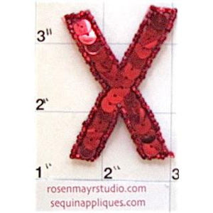 Letter X with Red Sequins and Beads  2""