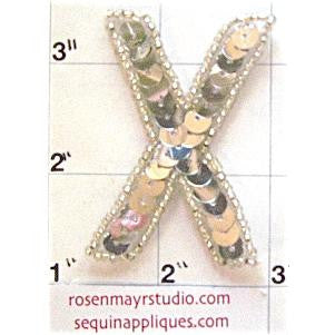 Letter X with Silver Sequins and Beads 2""