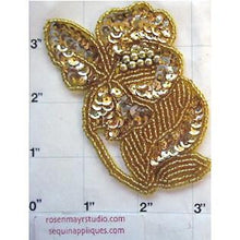 "Load image into Gallery viewer, Flower with Gold Sequins and Beads 3.5"" x 3"""