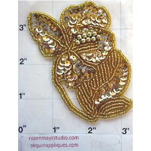 "Flower with Gold Sequins and Beads 3.5"" x 3"""