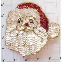 "Santa Face with Red Hat White Sequins 5"" x 5"""