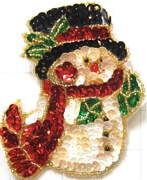"Snowman with Hat and Scarf 4.5"" x 4"""