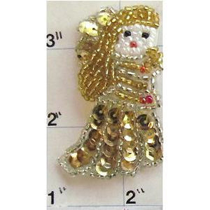 "Angel with Gold Sequins andBeads  2"" X 1.5"" - Sequinappliques.com"