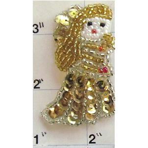 "Angel with Gold Sequins andBeads  2"" X 1.5"""