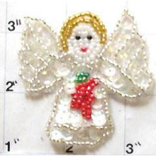 "Load image into Gallery viewer, Angel with iridescent Sequins, SilverGold, Red and Green Beads  2.25"" X 2.25"""