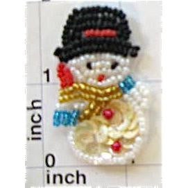 "Snowman with White Sequins and Multi-Colored Beads, 1.75"" X 1.25"" & 2"" x 2.5"""