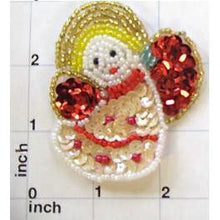"Load image into Gallery viewer, Angel with Red abdBeige Sequins and Beads  2.75"" X 2.25"" - Sequinappliques.com"