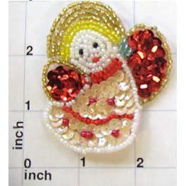 "Angel with Red abdBeige Sequins and Beads  2.75"" X 2.25"" - Sequinappliques.com"