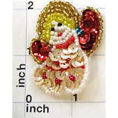 "Angel with Red and Beige Sequins and Beads  2"" x 1.5"""