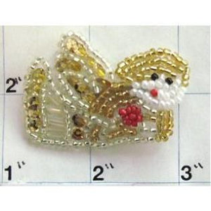 "Angel with Gold Sequins and Beads 2"" x 1.5"" - Sequinappliques.com"