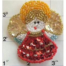 "Angel Red Gold Orange Sequins and Beads 2.25"" x 2.25"""