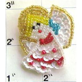 "Angel with Red White Turquoise Sequins and Beads  1.75"" x 1.5"" - Sequinappliques.com"