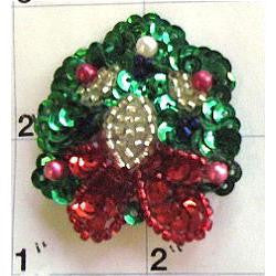 "Wreath with Red and Green Sequins and Beads  1.75"" X 1.5"""
