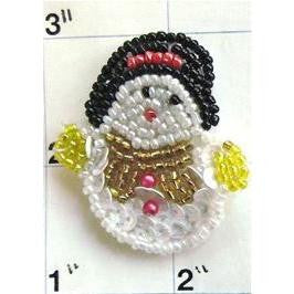 "Snowman with Multi-Color Beads  1.75"" X 1.75"""