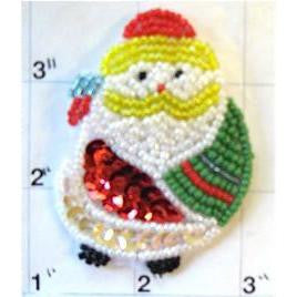 "Santa with Sequins and Beads  2.5"" x 2"""