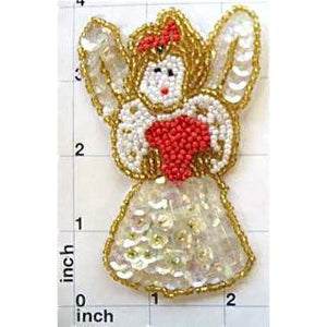 "Angel with White Sequins and Gold Beads 4"" x 2.5"" - Sequinappliques.com"