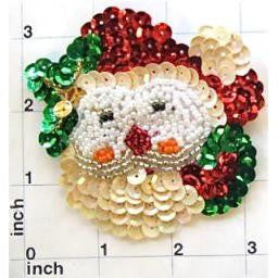 "Santa Face with Multi-Colored Sequins 3"" x 3.25"""