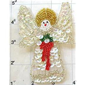 "Angel with Iridescent Sequins, Silver, Gold, Red and Green Beads  4"" X 2.75"" - Sequinappliques.com"