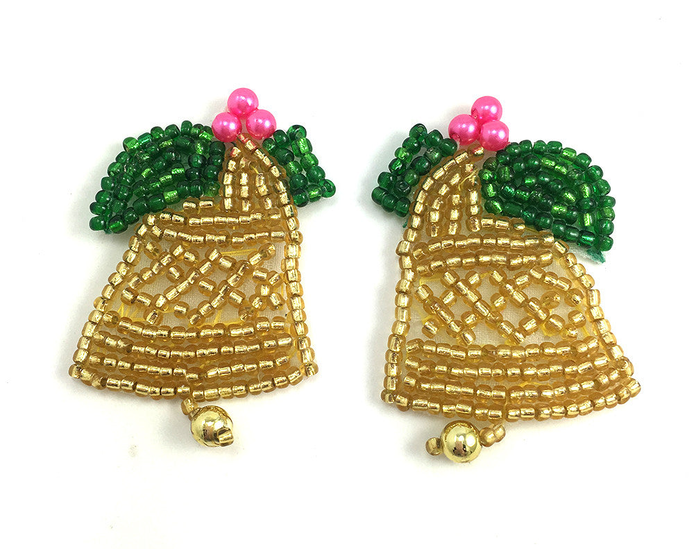 "Christmas Gold Bell Pair Beaded with Green Bow 1.25"" x 1"""