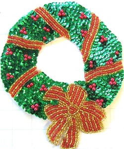 "Wreath Medium Size Red Gold Green Sequins and Beads 7.5"" x 6.75"""