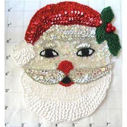 "Santa Face with white Beard and Holly 7"" x 6.5"""