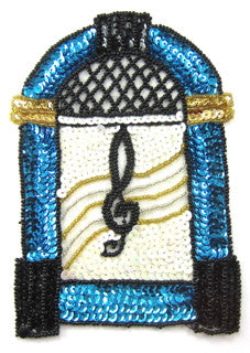 "Juke Box Turquoise Sequins with Black and gold and White 6.5"" x 4.5"""