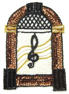 "Juke Box with Bronze Black White Gold Sequins and Beads 6.5"" x 4.5"""