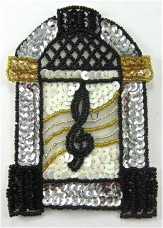 "Juke Box Black Gold Silver 4.5"" x 3"""
