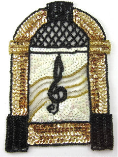 "Juke Box with Gold Black White Sequins and Beads 4.5"" x 3"""