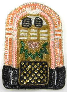 "Juke Box with Pink Peach Black Green Gold Sequins and Beads 6"" x 4"""