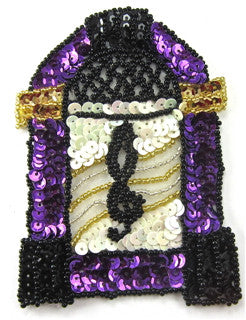 "Juke Box Purple and Black Sequins and Beads 4.5"" x 3"""