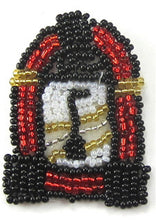 "Load image into Gallery viewer, Juke Box with Red Black White Gold Beads 2"" x 1.25"""