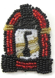 "Juke Box with Red Black White Gold Beads 2"" x 1.25"""