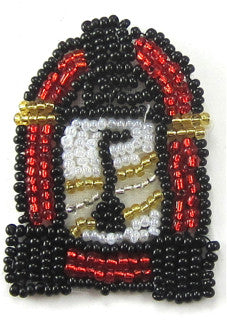 Juke Box with Red Black White Gold Beads 2