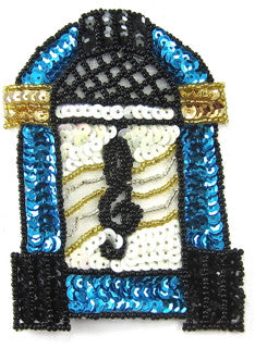 "Juke Box with Turquoise White Silver Beads and Sequins 4.5"" x 3"""