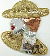 "Load image into Gallery viewer, Fashion Diva Lady with Gold Hat AB Rhinestone Earring Large 5.75"" x 5.75"""